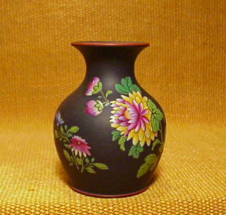 Wedgwood Enameled Basalt Vasebrchinese Flowers Pattern